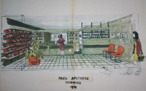 1976 erste Skizze der Apotheke
